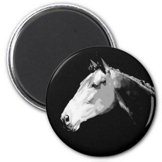 Caballo negro y blanco imán redondo 5 cm