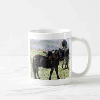 caballo negro y ganados lecheros taza básica blanca