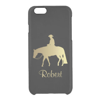 Caballo occidental de oro del placer en negro funda clear para iPhone 6/6S