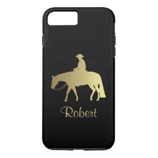Caballo occidental de oro del placer en negro funda iPhone 7 plus