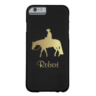 Caballo occidental de oro del placer en negro funda para iPhone 6 barely there