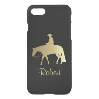 Caballo occidental de oro del placer en negro funda para iPhone 7