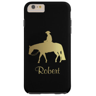 Caballo occidental de oro del placer en negro funda resistente iPhone 6 plus