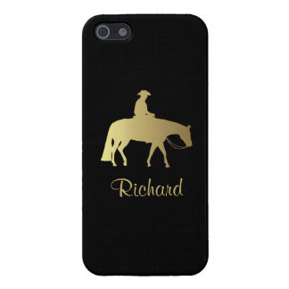 Caballo occidental de oro del placer en negro iPhone 5 carcasas