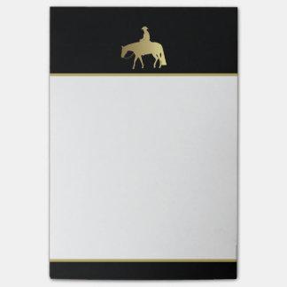 Caballo occidental de oro del placer en negro post-it® nota