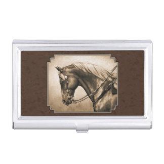 Caballo occidental del cuarto del placer en sepia caja de tarjetas de presentación