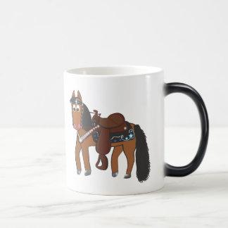 Caballo occidental del dibujo animado lindo taza mágica