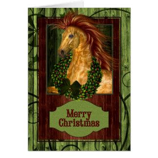 Caballo occidental del navidad con Barnwood verde Tarjetón