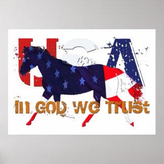 Caballo patriótico - en dios confiamos en posters