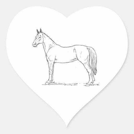 Caballo Pegatina En Forma De Corazón