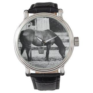 caballo por bosquejo blanco y negro de la cerca relojes de mano
