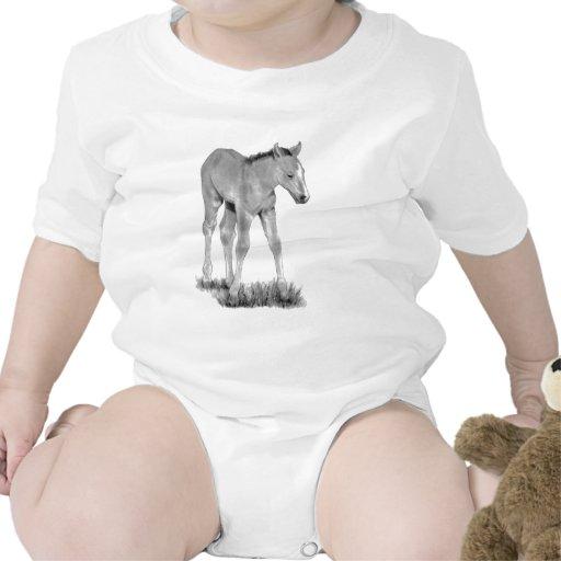 Caballo: Potro del bebé: Dibujo de lápiz Traje De Bebé