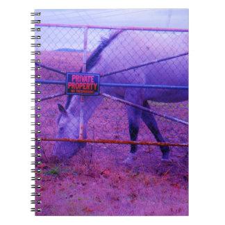 Caballo púrpura de la propiedad privada libretas espirales