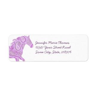 Caballo púrpura lindo de Paisley Etiqueta De Remite