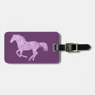 Caballo púrpura lindo de Paisley Etiquetas De Maletas
