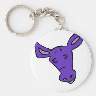 Caballo púrpura llavero redondo tipo pin