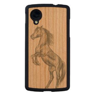 caballo que alza la caja del teléfono del nexo 5 funda de nexus 5 carved® de cerezo