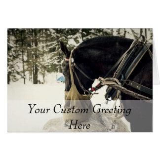 Caballo que come el heno durante invierno tarjeta de felicitación