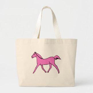Caballo que trota rosado bolsa lienzo