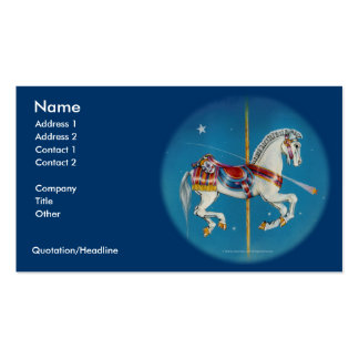 Caballo rojo blanco y azul de la tarjeta de visit