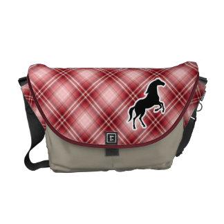 Caballo rojo de la tela escocesa bolsa de mensajeria