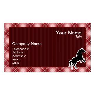 Caballo rojo de la tela escocesa tarjetas de visita