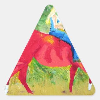 Caballo rojo y belleza rubia calcomania de trianguladas