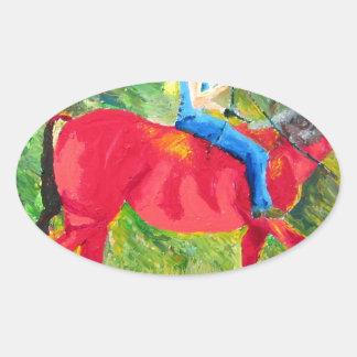 Caballo rojo y belleza rubia calcomanía óval