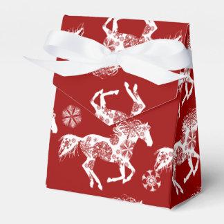 Caballo rojo y blanco del navidad del copo de caja para regalos