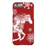 Caballo rojo y blanco del navidad del copo de funda de iPhone 6 barely there