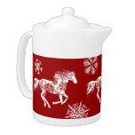 Caballo rojo y blanco del navidad del copo de niev