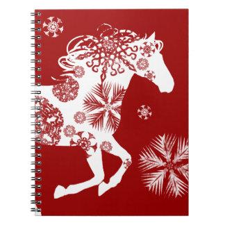 Caballo rojo y blanco del navidad del copo de niev cuadernos