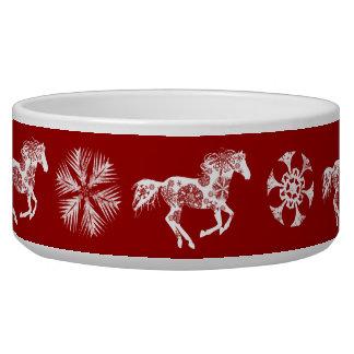 Caballo rojo y blanco del navidad del copo de niev tazon para perro