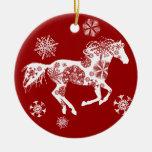Caballo rojo y blanco del navidad del copo de niev adorno de reyes