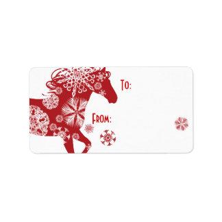 Caballo rojo y blanco del navidad del copo de niev etiquetas de dirección