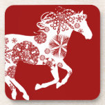 Caballo rojo y blanco del navidad del copo de niev posavasos de bebidas