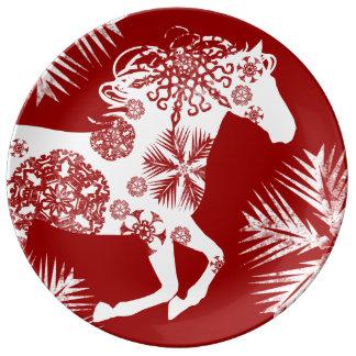 Caballo rojo y blanco del navidad del copo de platos de cerámica