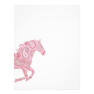 """Caballo rosado bonito de Paisley Folleto 8.5"""" X 11"""""""