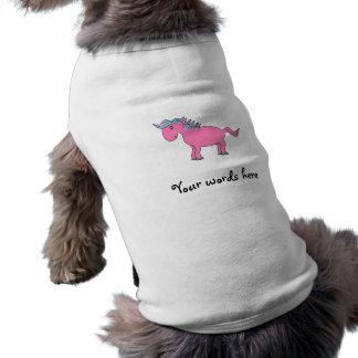 Caballo rosado con la melena rosada azul playera sin mangas para perro