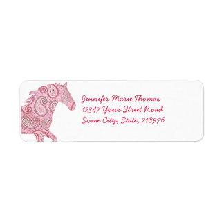 Caballo rosado de Paisley Etiqueta De Remite