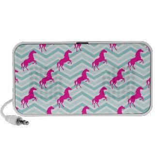 Caballo rosado Equestrian trullo azulverde Altavoces De Viaje