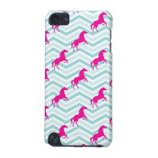 Caballo rosado, Equestrian, trullo azulverde Funda Para iPod Touch 5G