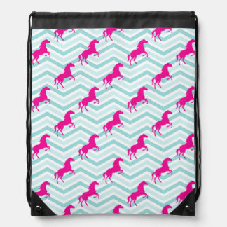 Caballo rosado, Equestrian, trullo azulverde Mochila