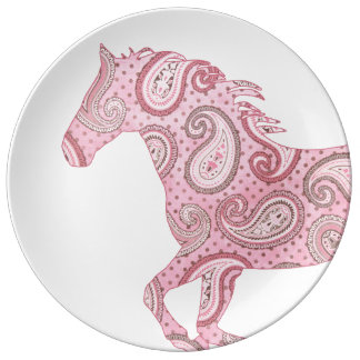 Caballo rosado lindo de Paisley Plato De Cerámica