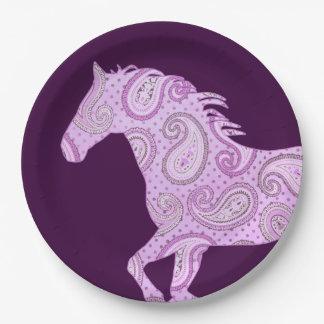 Caballo rosado lindo de Paisley Platos De Papel