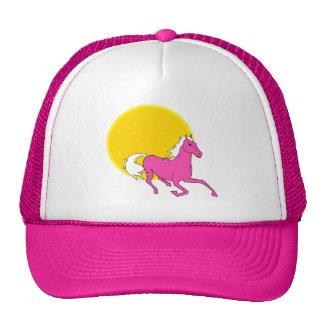 Caballo rosado y Sun Gorros Bordados