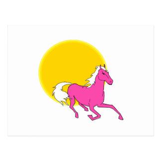 Caballo rosado y Sun Tarjetas Postales