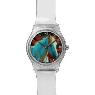 """Caballo salvaje """"año ilustraciones equinas del cab relojes de mano"""