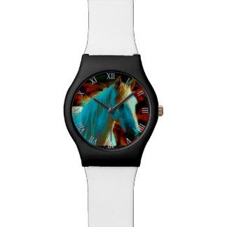 """Caballo salvaje """"año ilustraciones equinas del cab relojes de pulsera"""