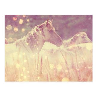Caballo salvaje bonito de las chispas del oro del tarjetas postales